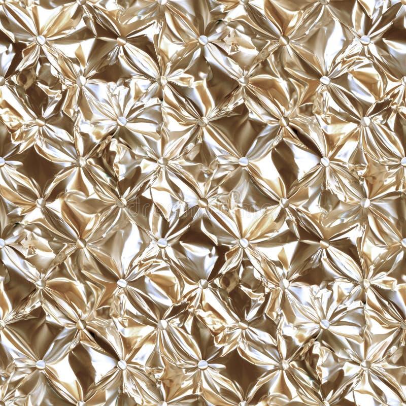 Λαμπρό χρυσό κατεβατό φύλλων αλουμινίου λεωφορείο-τύπων που σφίγγεται Γεμισμένο σκηνικό ταπετσαριών του Τσέστερφιλντ ύφος, άνευ ρ διανυσματική απεικόνιση