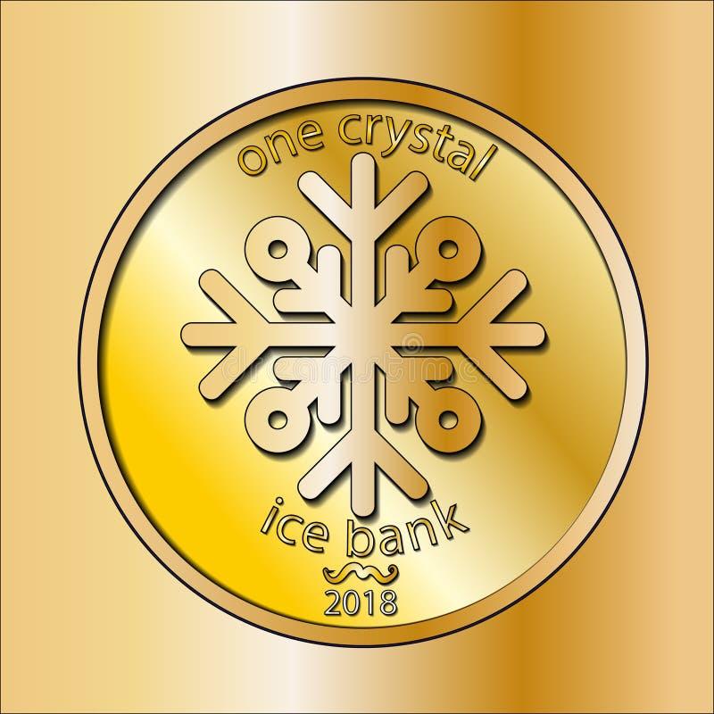 Λαμπρό χρυσό στρογγυλό νόμισμα Με snowflake Χειμερινά χρήματα νέο έτος Χριστουγέννων διανυσματική απεικόνιση