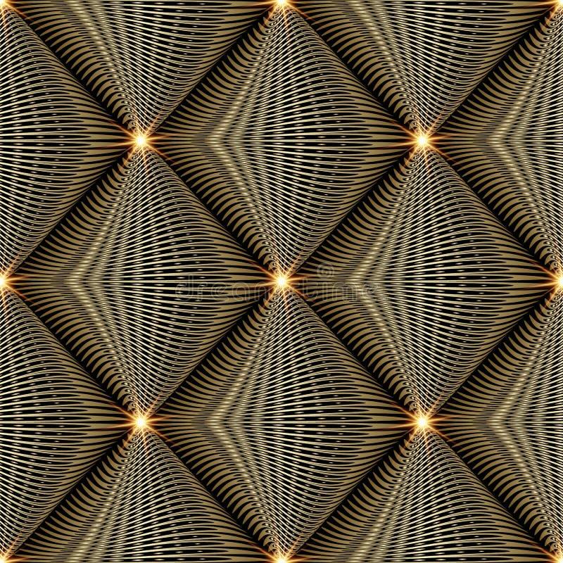 Λαμπρό χρυσό τρισδιάστατο σύγχρονο διανυσματικό άνευ ραφής σχέδιο αφηρημένος γεωμετρικός απεικόνιση αποθεμάτων