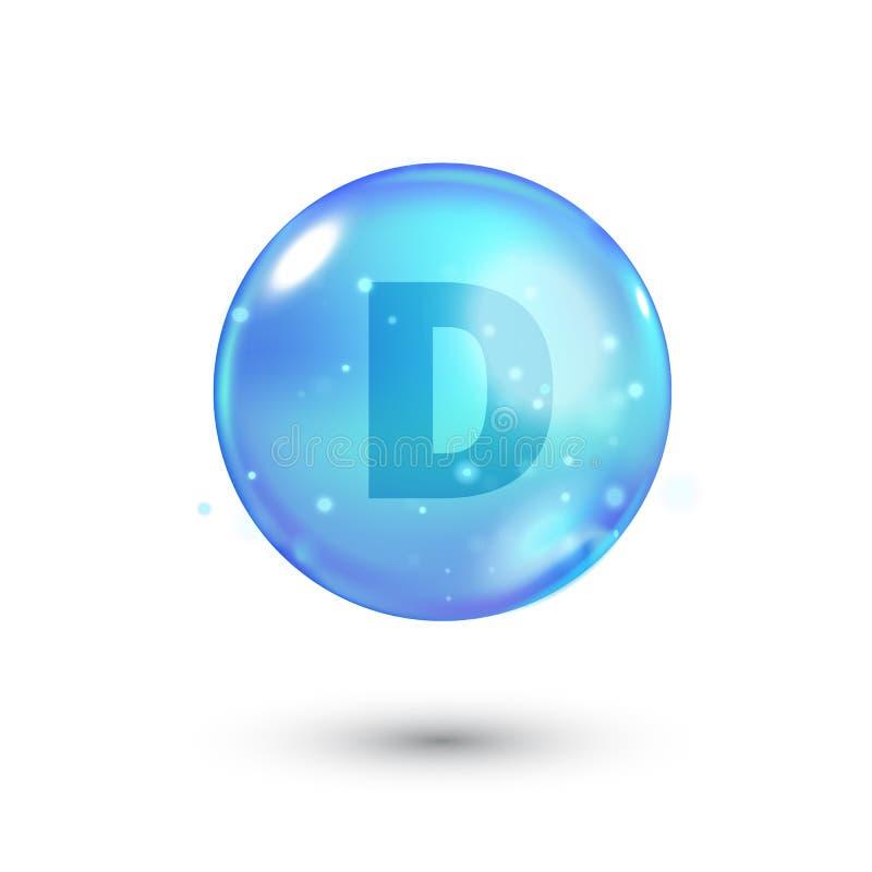 Λαμπρό χρωματισμένο κύπελλο με την επιστολή, βιταμίνη, μπλε κάψα μπλε φυσαλίδα διανυσματική απεικόνιση