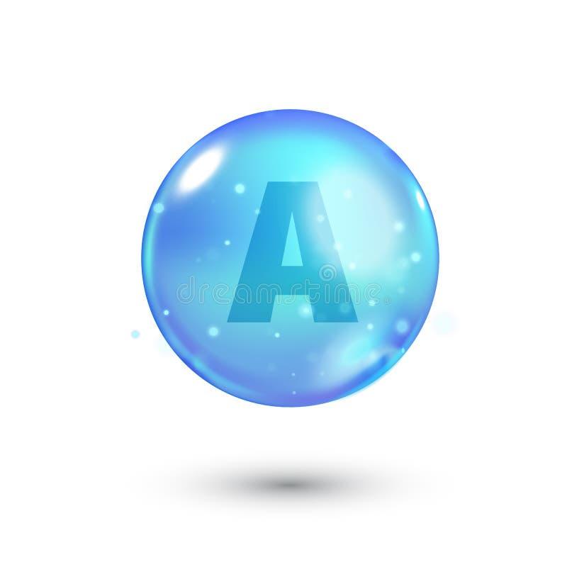 Λαμπρό χρωματισμένο κύπελλο με την επιστολή, βιταμίνη, μπλε κάψα μπλε φυσαλίδα απεικόνιση αποθεμάτων