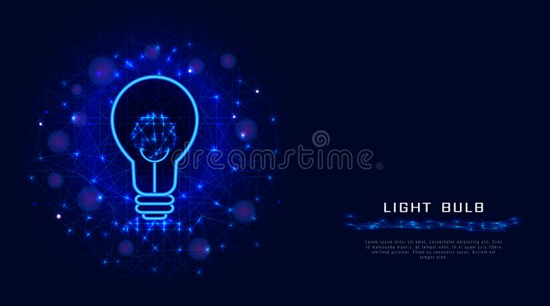 Λαμπτήρας ή λάμπα φωτός από τις γραμμές, τα σημεία και τα τρίγωνα στο αφηρημένο μπλε υπόβαθρο Έννοια σχεδίου Lightbulb για τη δημ διανυσματική απεικόνιση