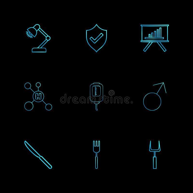λαμπτήρας, ασπίδα, γραφική παράσταση, υδρογόνο, σταλαγματιά, αρσενικό, μαχαίρι, δίκρανο, διανυσματική απεικόνιση