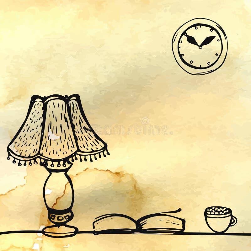 Λαμπτήρας, βιβλίο και φλυτζάνι στον πίνακα συρμένο χέρι διανυσματική απεικόνιση