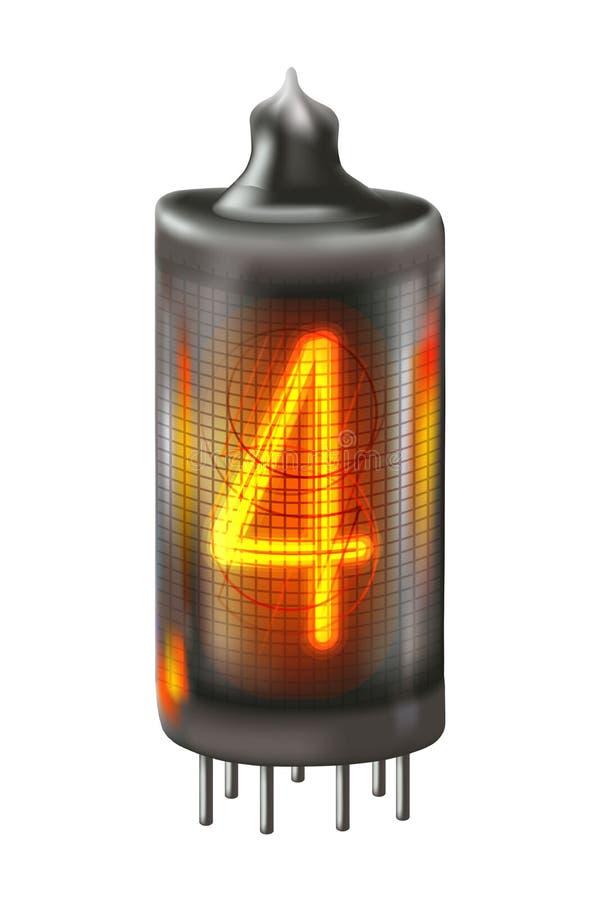 Λαμπτήρας δεικτών σωλήνων με τον αριθμό 4 αναμμένος επάνω στοκ φωτογραφία