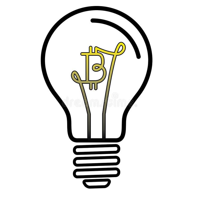 Λαμπτήρας λαμπών φωτός με το σύμβολο νομίσματος Bitcoin ελεύθερη απεικόνιση δικαιώματος