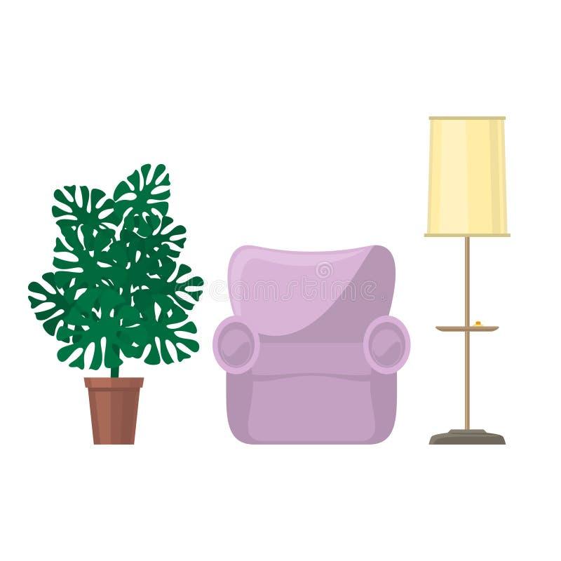 Λαμπτήρας πολυθρόνων και πατωμάτων με το monstera houseplant διανυσματική απεικόνιση