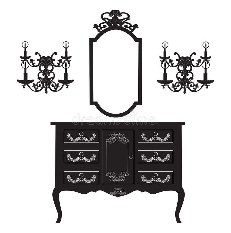 Λαμπτήρες ντύνοντας πίνακας και πλαισίων και τοίχων καθρεφτών διανυσματική απεικόνιση