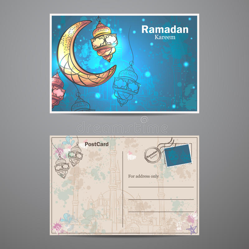 Λαμπτήρες του Kareem Ramadan και ημισεληνοειδής κάρτα φεγγαριών διανυσματική απεικόνιση