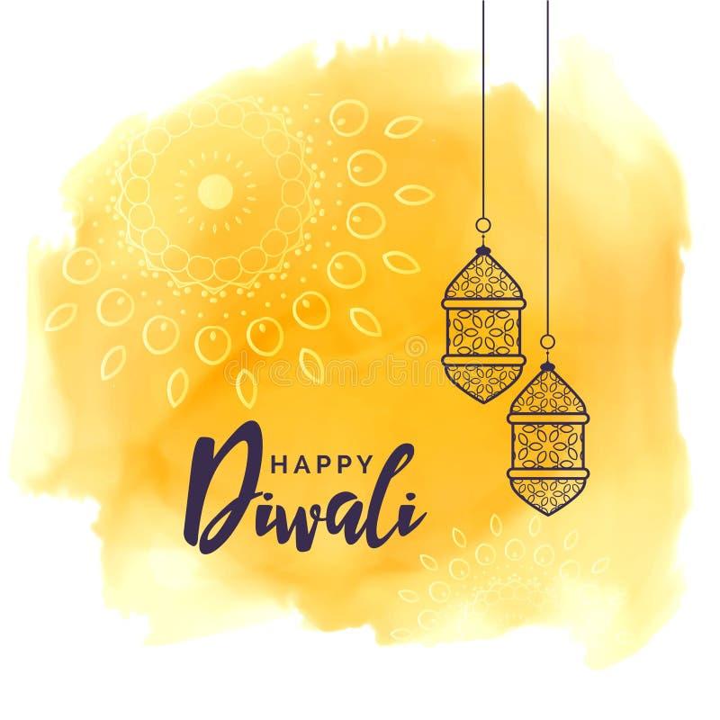 Λαμπτήρες φεστιβάλ Diwali που χαιρετούν με το κίτρινο watercolor απεικόνιση αποθεμάτων