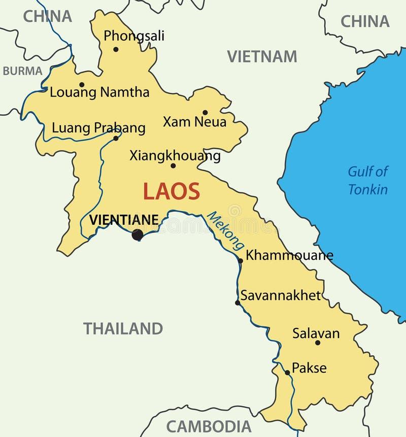 Λαοτιανή λαϊκή Δημοκρατία λαών - διανυσματικός χάρτης - Λάος ελεύθερη απεικόνιση δικαιώματος
