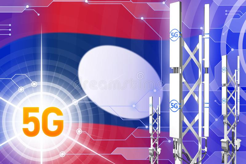Λαοτιανή βιομηχανική απεικόνιση Δημοκρατίας 5G ανθρώπων δημοκρατική, μεγάλος κυψελοειδής ιστός δικτύων ή πύργος στο ψηφιακό υπόβα απεικόνιση αποθεμάτων