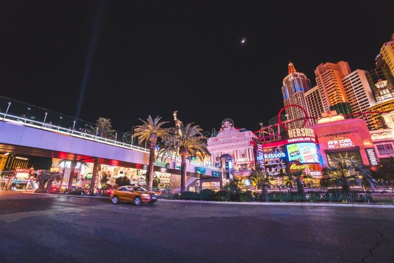 Λας Βέγκας, Ηνωμένες Πολιτείες - 12 Μαρτίου 2019: Θέα του βραδινού φωτεινού φωτισμού του Λας Βέγκας στοκ εικόνα