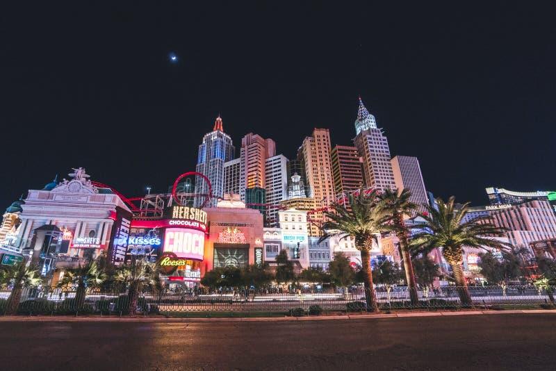 Λας Βέγκας, Ηνωμένες Πολιτείες - 12 Μαρτίου 2019: Θέα του βραδινού φωτεινού φωτισμού του Λας Βέγκας στοκ εικόνες με δικαίωμα ελεύθερης χρήσης