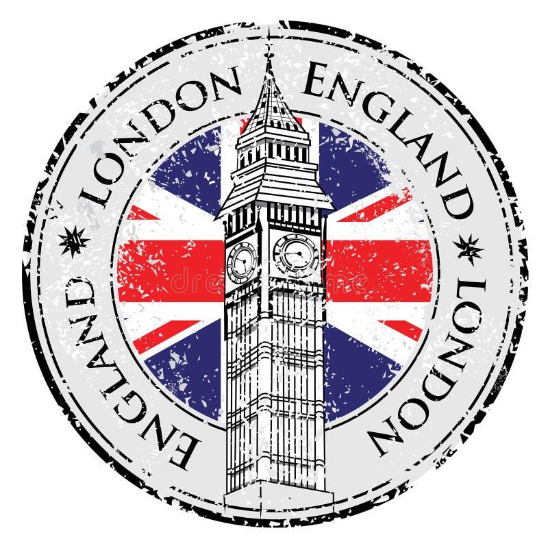 Λαστιχένιο γραμματόσημο Λονδίνο Μεγάλη Βρετανία grunge διανυσματική απεικόνιση