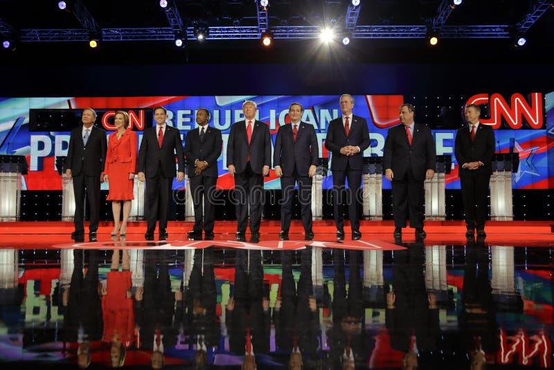 ΛΑΣ ΒΈΓΚΑΣ, NV - 15 ΔΕΚΕΜΒΡΊΟΥ: Δημοκρατικοί προεδρικοί υποψήφιοι (LR) John Kasich, Carly Fiorina, Sen Ο Marco Rubio, Ben Carson, στοκ φωτογραφίες
