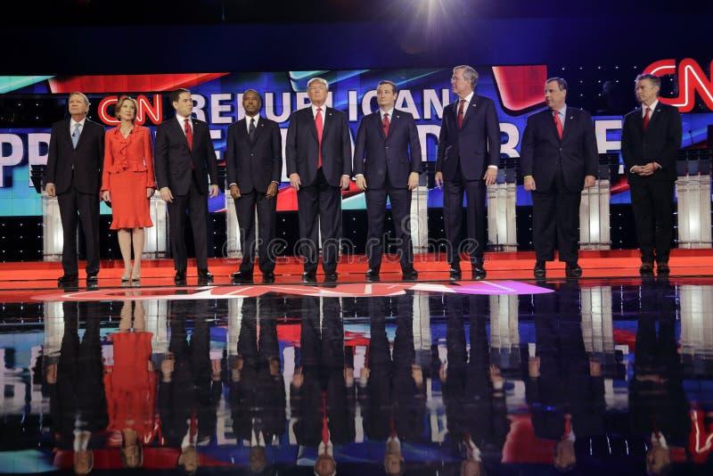 ΛΑΣ ΒΈΓΚΑΣ, NV - 15 ΔΕΚΕΜΒΡΊΟΥ: Δημοκρατικοί προεδρικοί υποψήφιοι (LR) John Kasich, Carly Fiorina, Sen Ο Marco Rubio, Ben Carson, στοκ εικόνα