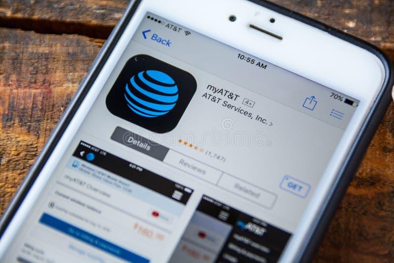 ΛΑΣ ΒΈΓΚΑΣ, NV - 22 Σεπτεμβρίου 2016 - IPhone App της AT&T myAT&T στο Τ στοκ φωτογραφία