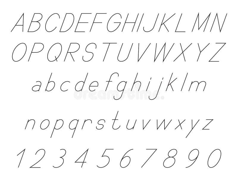 Λατινικές επιστολές αλφάβητου, κυρτό σύνολο πηγών, με το σύνολο αριθμών 1, 2, 3, 4, 5, 6, 7, 8, 9, 0, που περιγράφονται, ο Μαύρος διανυσματική απεικόνιση
