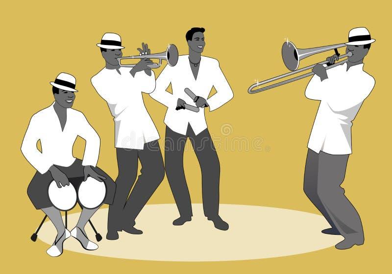 Λατινική ζώνη Παιχνίδι τεσσάρων λατινικό μουσικών ελεύθερη απεικόνιση δικαιώματος