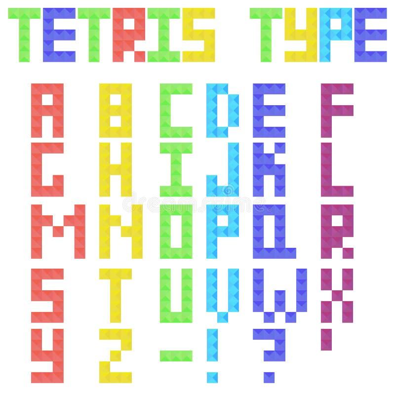 Λατινικός τύπος Tetris από τα χρωματισμένα κομμάτια απεικόνιση αποθεμάτων