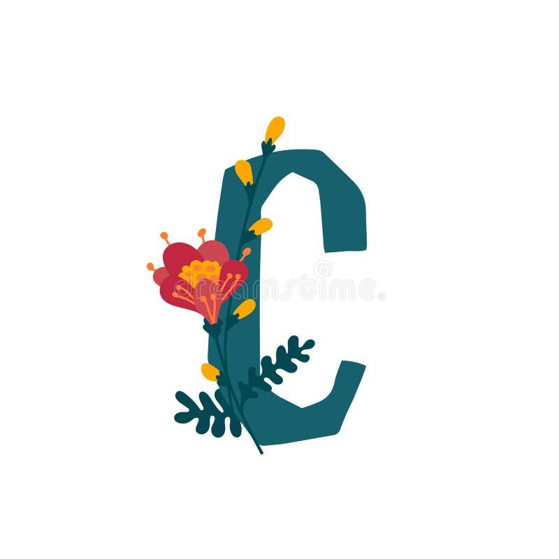 Λατινικό γράμμα C στα άνθη και τα φυτά Διάνυσμα Γράμμα σε διακοσμητικά στοιχεία για επιγραφές απεικόνιση αποθεμάτων