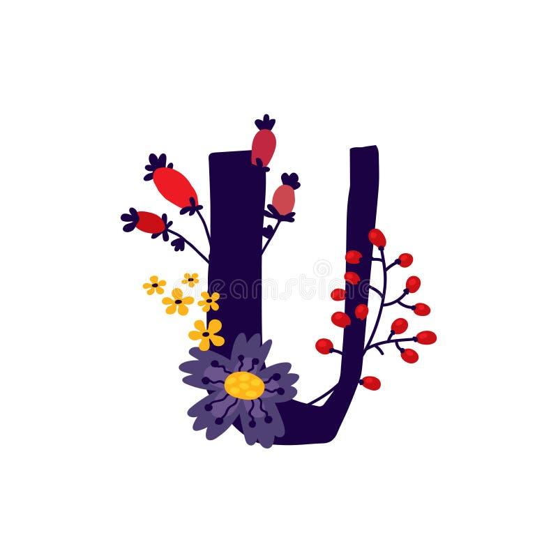 Λατινικό γράμμα U στα άνθη και τα φυτά Διάνυσμα Γράμμα σε διακοσμητικά στοιχεία για επιγραφές απεικόνιση αποθεμάτων