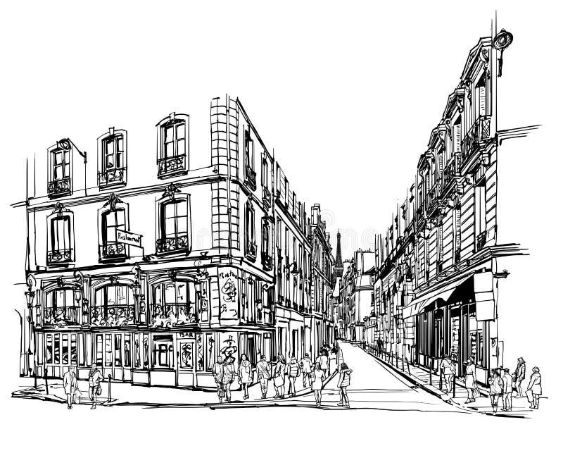 Λατινικό τέταρτο του Παρισιού διανυσματική απεικόνιση