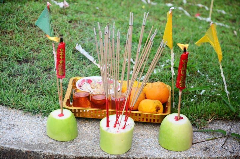 Λατρεία προγόνων και θυσιαστική προσφορά στο φεστιβάλ Qingming στοκ εικόνες
