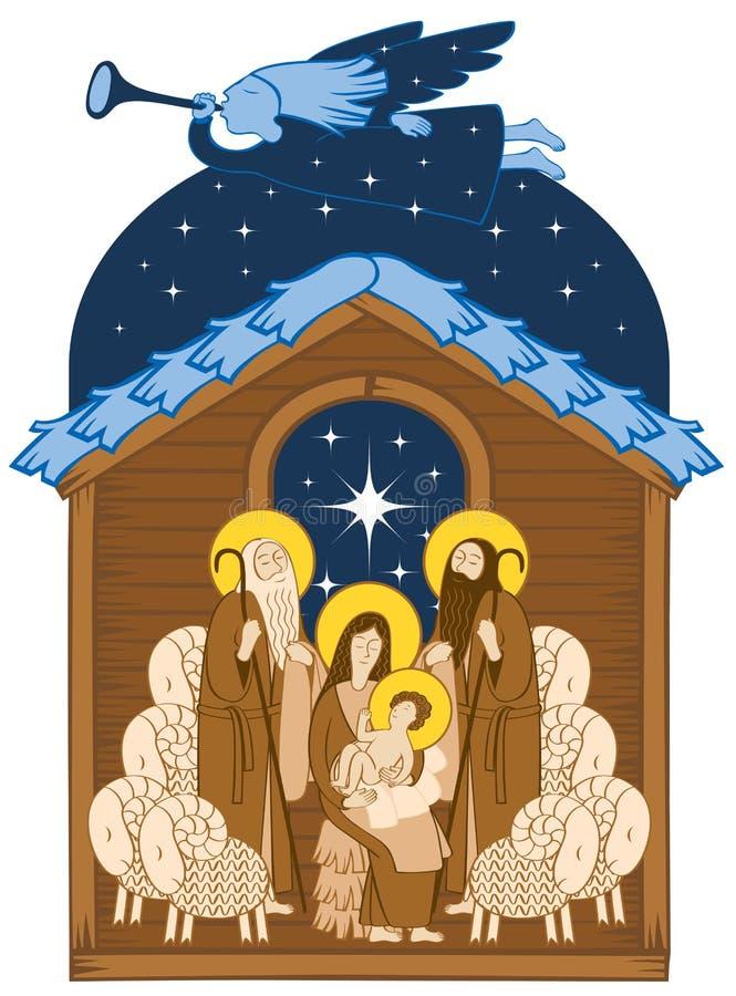 Λατρεία των μάγων Ιησούς Mary διανυσματική απεικόνιση
