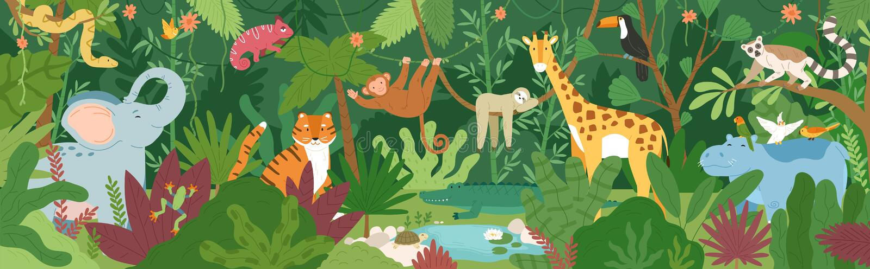 Λατρευτά εξωτικά ζώα στο τροπικό σύνολο δασών ή τροπικών δασών των φοινίκων και των lianas Χλωρίδα και πανίδα των τροπικών κύκλων διανυσματική απεικόνιση