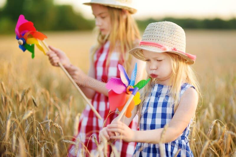 Λατρευτά κορίτσια που παίζουν με τα ζωηρόχρωμα pinwheels στον τομέα σίτου στο θερμό και ηλιόλουστο θερινό βράδυ στοκ εικόνα