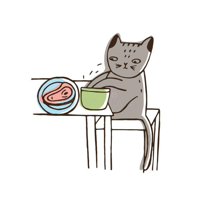 Λατρευτά stealing τρόφιμα γατών από το πιάτο που βρίσκεται στον πίνακα και που τρώει τον Αστείο άτακτο γατάκι που απομονώνεται στ ελεύθερη απεικόνιση δικαιώματος
