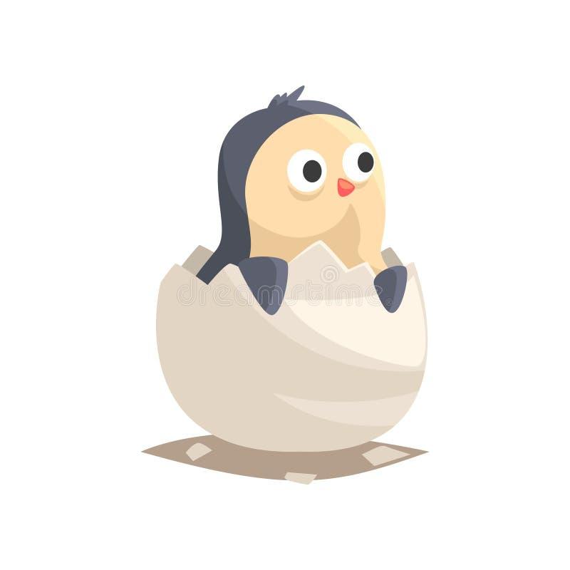Λατρευτή νεογέννητη εκκόλαψη penguin από το αυγό διανυσματική απεικόνιση