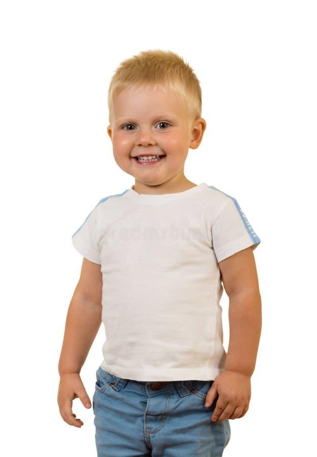 Λατρευτή στάση μικρών παιδιών χαμόγελου, που απομονώνεται στο λευκό στοκ εικόνες με δικαίωμα ελεύθερης χρήσης