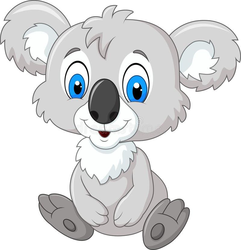 Λατρευτή συνεδρίαση koala κινούμενων σχεδίων που απομονώνεται στο άσπρο υπόβαθρο διανυσματική απεικόνιση