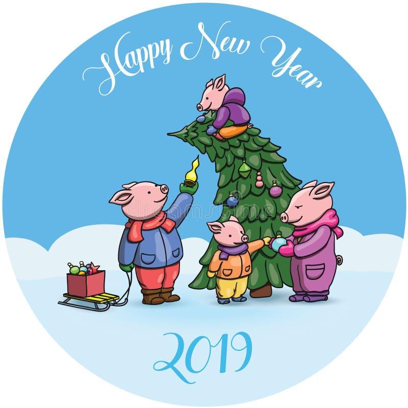Λατρευτοί χοίροι κινούμενων σχεδίων, σύμβολο του κινεζικού νέου έτους του 2019 Εορτασμός χοιριδίων χαρωπά, που διακοσμεί το χριστ διανυσματική απεικόνιση
