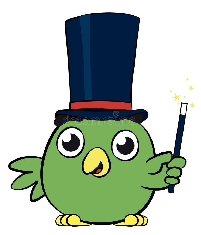 Λατρευτός λίγος χαρακτήρας κινουμένων σχεδίων μάγων πουλιών ελεύθερη απεικόνιση δικαιώματος