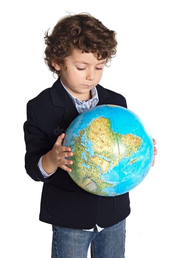 λατρευτός γήινος πλανήτης αγοριών που ανησυχείται στοκ εικόνες
