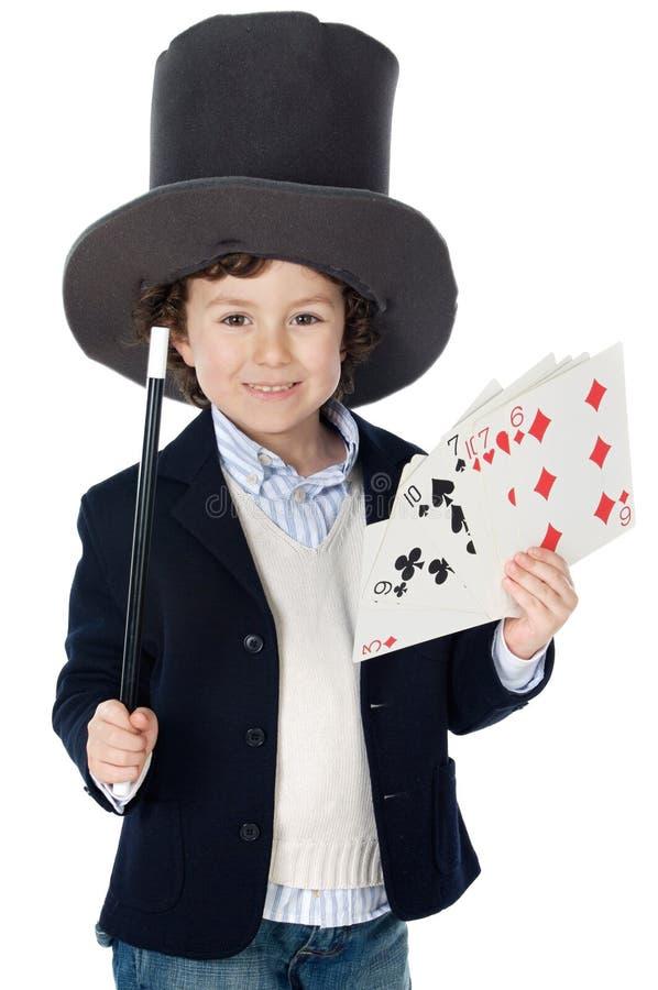 λατρευτός θαυματοποιός καπέλων φορεμάτων παιδιών στοκ εικόνα