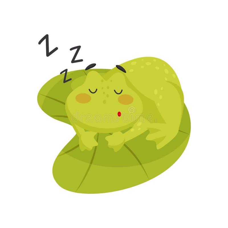 Λατρευτός ύπνος βατράχων στο φύλλο λωτού Χαριτωμένος πράσινος φρύνος Επίπεδο διανυσματικό στοιχείο για το κινητό παιχνίδι ή το βι διανυσματική απεικόνιση