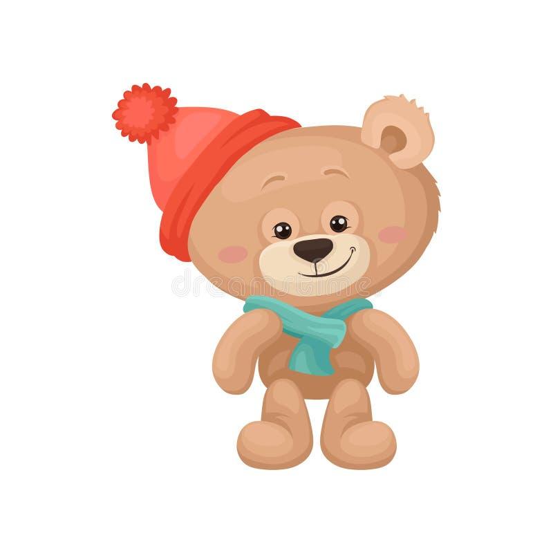 Λατρευτός teddy αντέχει με τα ρόδινα μάγουλα και τα λαμπρά μάτια που φορούν το θερμά καπέλο και το μαντίλι Παιχνίδι παιδιών βελού διανυσματική απεικόνιση