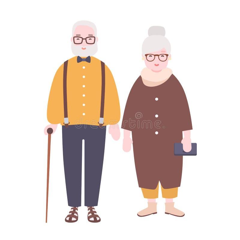 Λατρευτό ηλικιωμένο παντρεμένο ζευγάρι Ο ηληκιωμένος και η γυναίκα έντυσαν στον κομψό ιματισμό που στέκεται από κοινού ο αεροπόρο διανυσματική απεικόνιση
