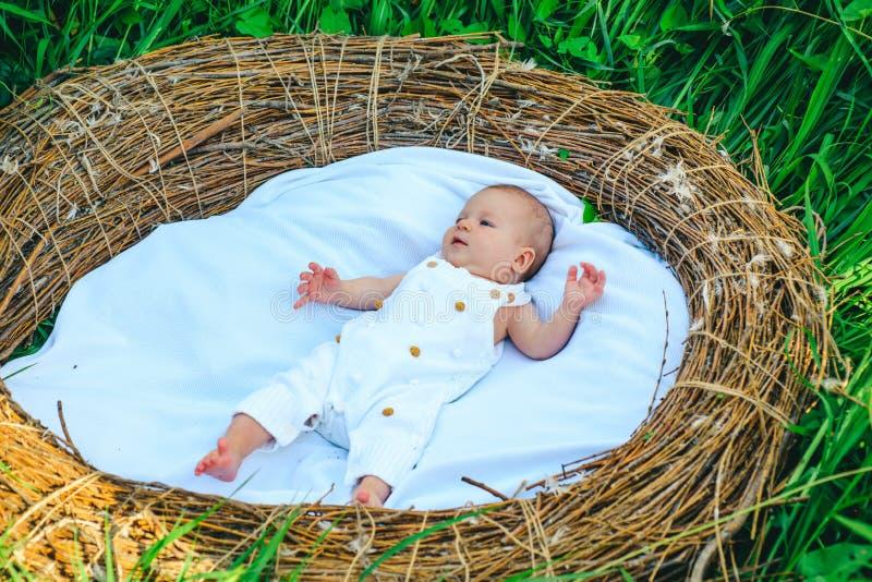 Λατρευτό θηλάζον νεογνό Νήπιο θηλαζόντων νεογνών άγρυπνο στο παχνί Προστασία παιδικής ηλικίας και μητρότητας Ασφαλής παροχή υπηρε στοκ φωτογραφία με δικαίωμα ελεύθερης χρήσης