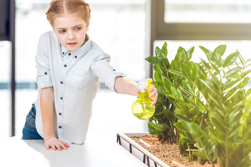 Λατρευτό κορίτσι που ποτίζει τις πράσινες εγκαταστάσεις στην αρχή στοκ εικόνες