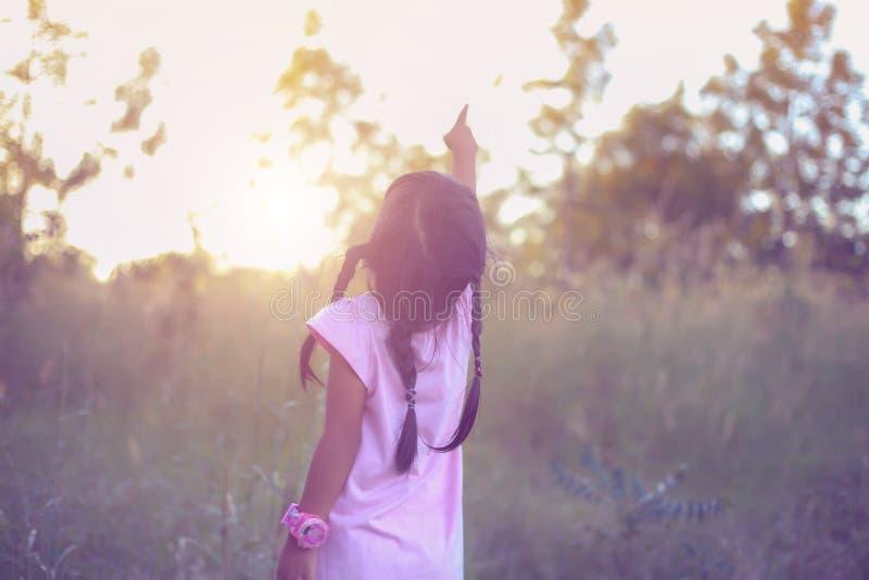 Λατρευτό μικρό κορίτσι που γελά σε ένα λιβάδι - ευτυχές κορίτσι στο ηλιοβασίλεμα στοκ εικόνες