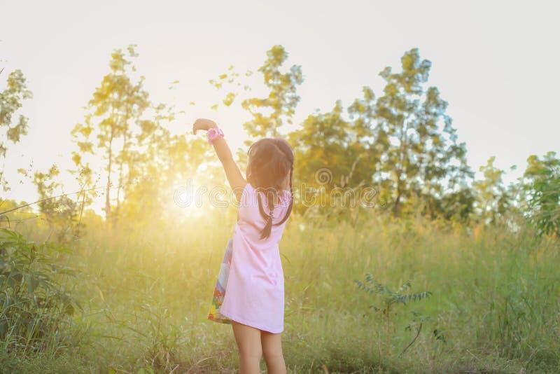 Λατρευτό μικρό κορίτσι που γελά σε ένα λιβάδι - ευτυχές κορίτσι στο ηλιοβασίλεμα στοκ φωτογραφία με δικαίωμα ελεύθερης χρήσης