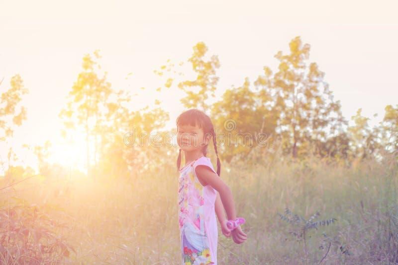 Λατρευτό μικρό κορίτσι που γελά σε ένα λιβάδι στοκ εικόνα με δικαίωμα ελεύθερης χρήσης