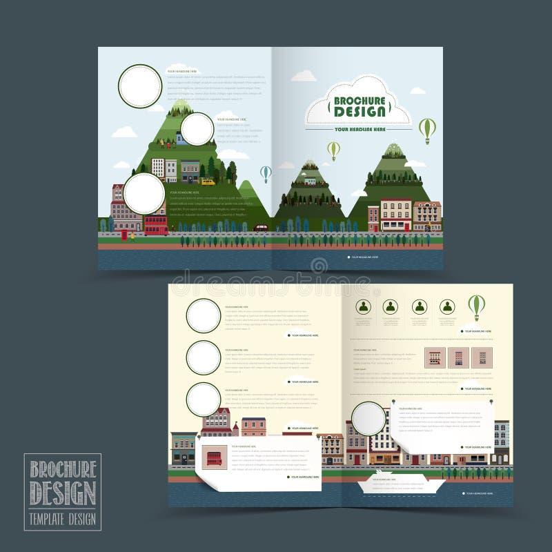 Λατρευτό πρότυπο φυλλάδιων μισό-πτυχών πόλης τοπίου ελεύθερη απεικόνιση δικαιώματος