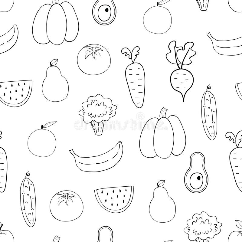 Λαχανικά, άνευ ραφής σχέδιο φρούτων ελεύθερη απεικόνιση δικαιώματος